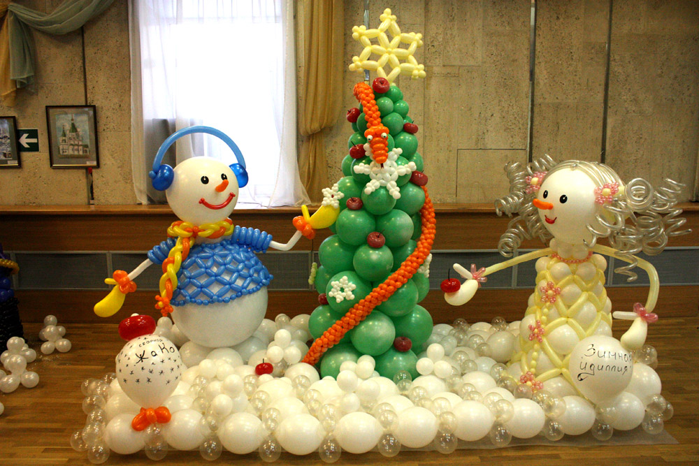 Как сделать снеговика своими руками из шариков